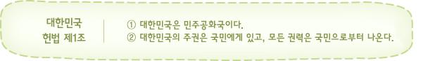 대한민국 헌법 제1조 설명
